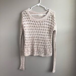 Hollister Cream/Tan Crocheted Sweater Size S